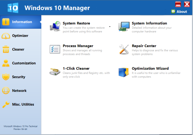 Yamicsoft Windows 10 Manager windows