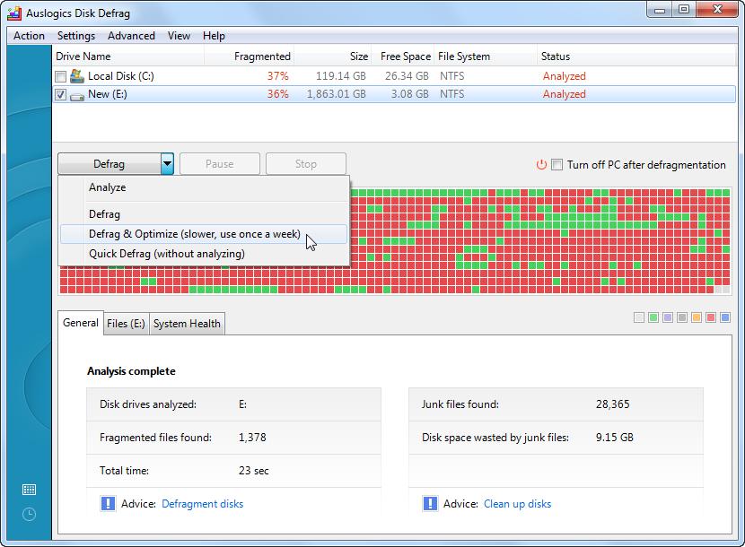 Auslogics Disk Defrag windows