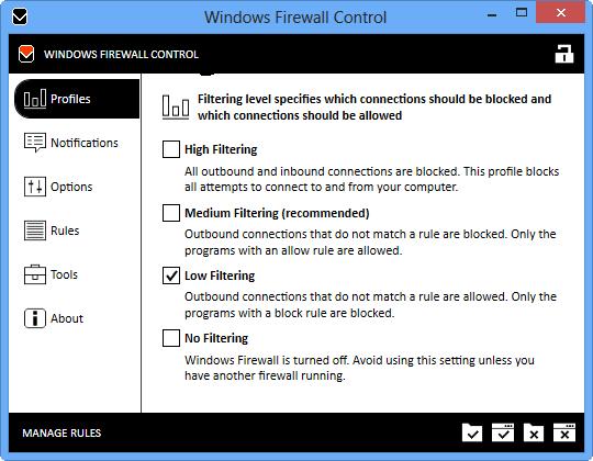 Windows Firewall Control windows