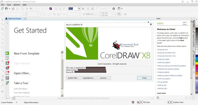 CorelDRAW X8 windows