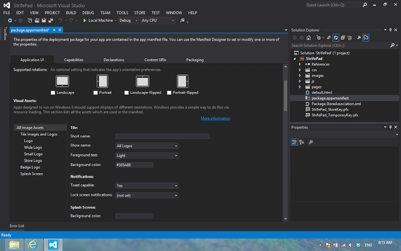 Microsoft Visual Studio windows