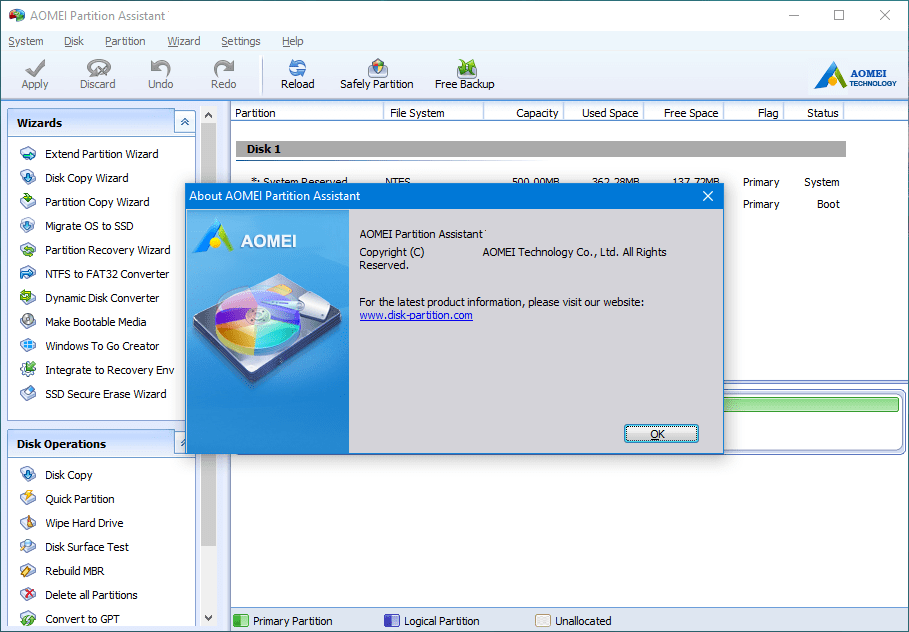 AOMEI Partition Assistant windows