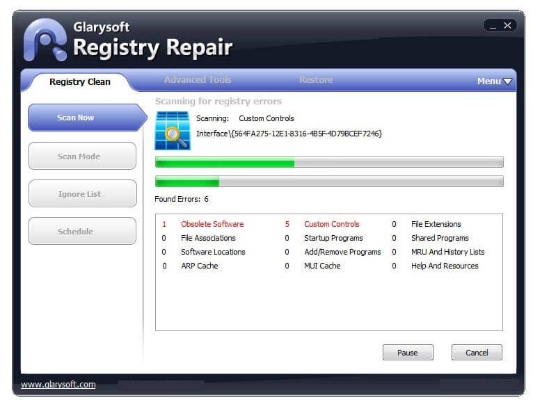 Glary Registry Repair windows